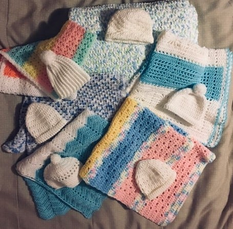 Baby blankets and hats were donated to the Frederick Care Net Pregnancy Center. Thank you Nancy Fisher, Diane Lowe and Anna Grimes for all your hard work.